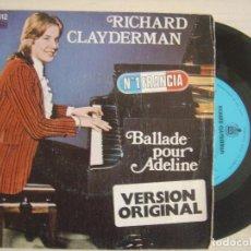 Discos de vinilo: RICHARD CLAYDERMAN - BALLADE POUR ADELINE - SINGLE. Lote 120666407