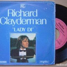 Discos de vinilo: RICHARD CLAYDERMAN - LADY DI - SINGLE. Lote 120709595