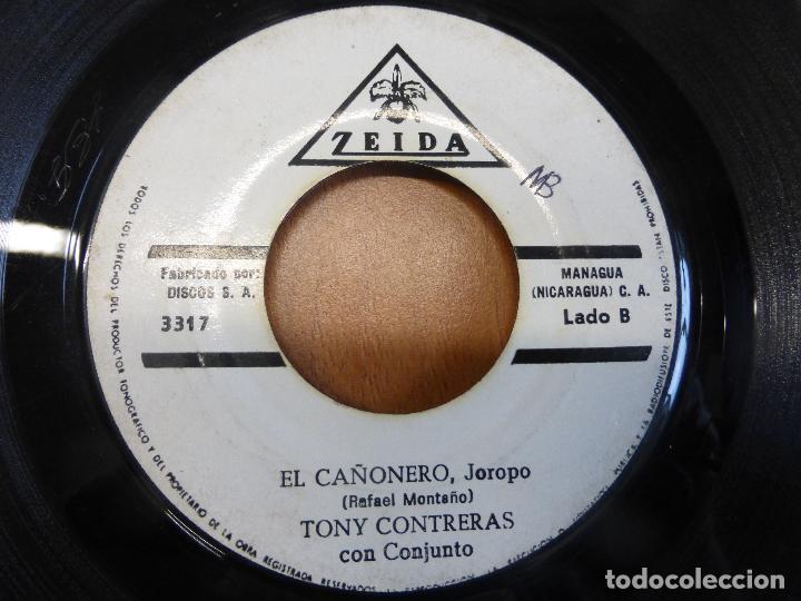 TONY CONTRERAS CON CONJUNTO - CINCO PA' LAS 12 / EL CAÑONERO - ZEIDA - MANAGUA (NICARAGUA) - (Música - Discos - Singles Vinilo - Grupos y Solistas de latinoamérica)