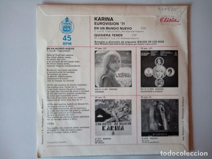 Discos de vinilo: SINGLE: KARINA EUROVISION 71. EN UN MUNDO NUEVO - Foto 2 - 120835691