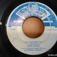 Discos de vinilo: ENEIDA CEDEÑO Y DORINDO CÁRDENAS CON SU CONJUNTO ORGULLO SANTEÑO - ADIOS COMPAÑERO ADIOS - PANAMA. Lote 120836099