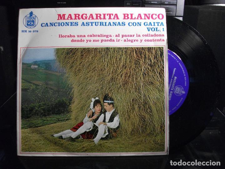 EP MARGARITA BLANCO CANCIONES ASTIRIANAS CON GAITA VOL 1 LLORABA UNA CABRALIEGA + 3 ASTURIAS (Música - Discos de Vinilo - EPs - Country y Folk)