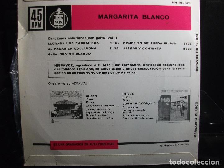 Discos de vinilo: EP MARGARITA BLANCO CANCIONES ASTIRIANAS CON GAITA VOL 1 LLORABA UNA CABRALIEGA + 3 ASTURIAS - Foto 2 - 120888275