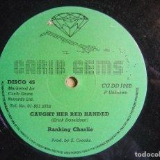 Discos de vinilo: LUDDY PIONEER & JOE SLICKER RIGHT ON TIME + RANKING CHARLIE CAUGHT - MAXI INGLES CARIB GEMS - REGGAE. Lote 120945683