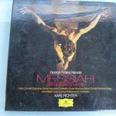 Discos de vinilo: 3LP HANDEL MESSIAH EL MESIAS KARL RICHTER DEUTSCHE GRAMMOPHON. Lote 120976479