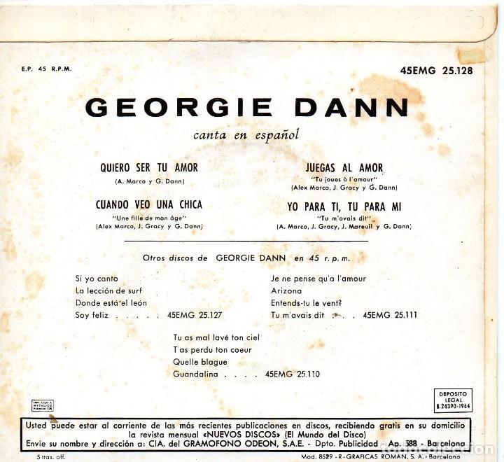 Discos de vinilo: GEORGIE DANN canta en Español, EP, QUIERO SER TU AMOR + 3, AÑO 1964 - Foto 2 - 121010047