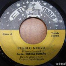 Discos de vinilo: ENEIDA CEDEÑO Y DORINDO CÁRDENAS CON SU CONJUNTO ORGULLO SANTEÑO - PUEBLO NUEVO / ALICIA ADORADA -. Lote 121068431