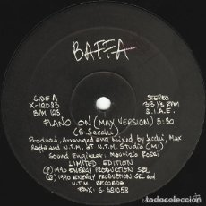 Discos de vinilo: BAFFA - PIANO ON (MAX VERSION ) - MAXI-SINGLE ITALY 1990. Lote 121115523