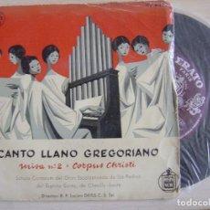 Discos de vinilo: CANTO LLANO GREGORIANO - MISA II + CORPUS CHRISTI - SINGLE ESPAÑOL - ERATO. Lote 121138263