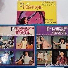 Discos de vinilo: 3 SINGLES CON EL 1º Y 2º FESTIVAL DE LA CANCIÓN MENSAJE DE COLEGIOS DE Mª AUXILIADORA. Lote 121244019