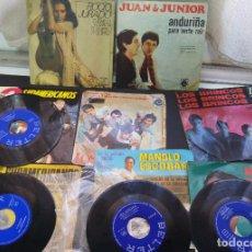 Discos de vinilo: COLECCION DE 8 SINGLES ROCIO JURADO, MANOLO ESCOBAR, LOS BRINCOS, 3 SUDAMARICANOS, JUAN Y JUNIOR. Lote 121253751