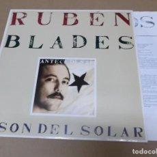 Discos de vinilo: RUBEN BLADES Y SON DEL SOLAR (LP) ANTECEDENTE AÑO 1988 – ENCARTE CON LETRAS. Lote 243913325