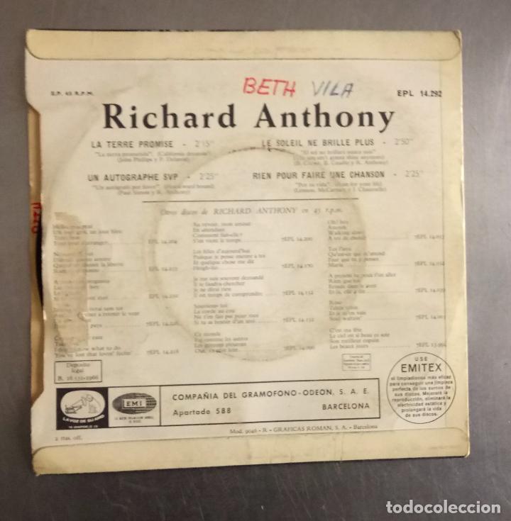 Discos de vinilo: Richard anthony - la terre promise + 3, - Foto 2 - 121279271