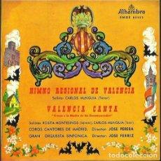 Discos de vinilo: HIMNO REGIONAL DE VALENCIA (CARLOS MUNGUIA). EP. SELLO ALHAMBRA. EDITADO EN ESPAÑA. AÑO 1959. Lote 121340735