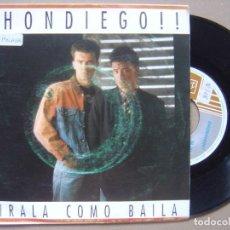 Discos de vinilo: DHONDIEGO - MIRALA COMO BAILA - SINGLE 1990 - HORUS. Lote 121353043