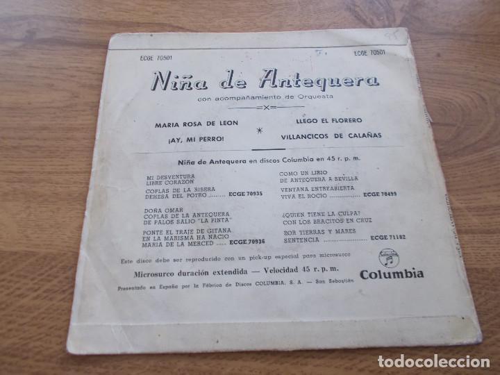 Discos de vinilo: NIÑA DE ANTEQUERA. MARIA ROSA DE LEON. AY, MI PERRO. LLEGÓ EL FLORERO, VILLANCICOS DE CALAÑAS - Foto 2 - 121361567