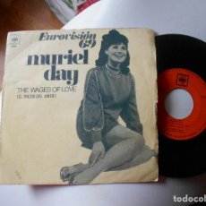 Discos de vinilo: MURIEL DAY-SINGLE THE WAGES OF LOVE-EUROVISION 69. Lote 121370167