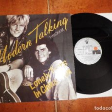 Discos de vinilo: MODERN TALKING LONELY TEARS IN CHINATOWN - GIVE ME PEACE ON EARTH MAXI SINGLE VINILO AÑO 1987 RARO. Lote 121471047