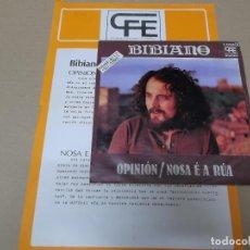 Discos de vinilo: BIBIANO (SN) OPINION AÑO 1978 – HOJA PROMOCIONAL. Lote 121478711