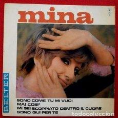Discos de vinilo: MINA (EP. 1967) CON ORQUESTA BRUNO CANFORA - SONO COME TU MI VUOI - MAI COSI - SONO QUI PER TE. Lote 121536515