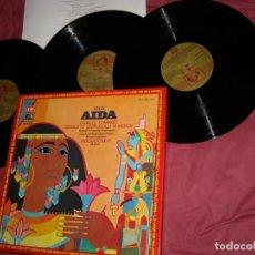 Discos de vinilo: VERDI - AIDA - CABALLÉ - DOMINGO - COSSOTTO - CAPPUCCILLI - GHIAUROV - MUTTI CAJA 3 LP CON LIBRETO. Lote 121539963