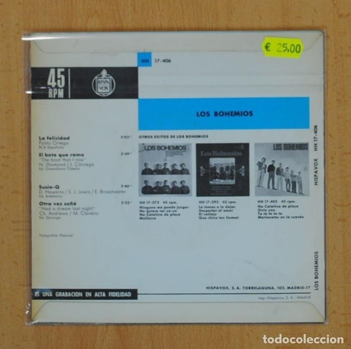 Discos de vinilo: LOS BOHEMIOS - LA FELICIDAD + 3 - EP - Foto 2 - 121649572