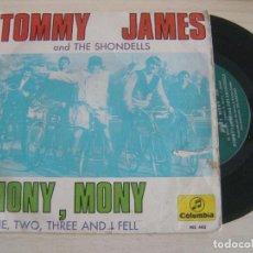 Discos de vinilo: TOMMY JAMES AND THE SHONDELLS - MONY, MONY + ONE TWO THREE AND I FELL - SINGLE 1968 - COLUMBIA. Lote 121734915