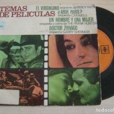 Discos de vinilo: TEMAS DE PELICULAS - EL VIRGINIANO + ¿ARDE PARIS? + UN HOMBRE...- SINGLE ESPAÑOL 1967 - CBS. Lote 121738363