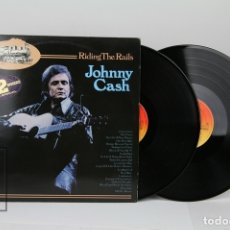 Discos de vinilo: DOBLE DISCO LP DE VINILO - JOHNNY CASH / RIDING THE RAILS - CBS, 1976 - MADE IN HOLANDA. Lote 121744266