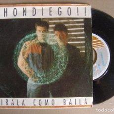 Discos de vinilo: DHONDIEGO - MIRALA COMO BAILA - SINGLE 1990 - HORUS. Lote 121786431