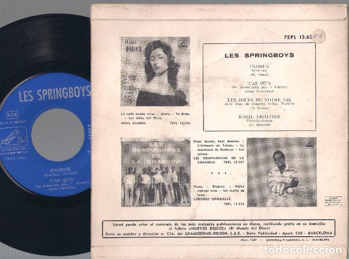 Discos de vinilo: Les Springboys - Baile con los Springboys (Exodus + 3) EP - La Voz de su Amo 1961 - Edición española - Foto 2 - 121803679