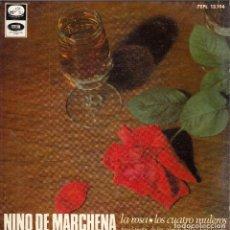 Discos de vinilo: NIÑO DE MARCHENA. LA ROSA. LOS CUATRO MULEROS. DISCO 45 RPM. EMI-ODEON. AÑO 1958. Lote 121814043