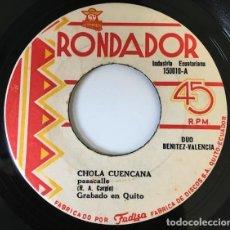 Discos de vinilo: DUO BENITEZ-VALENCIA - CHOLA CUENCANA / LEJOS DE TI (EDITADO EN QUITO - ECUADOR). Lote 122043111
