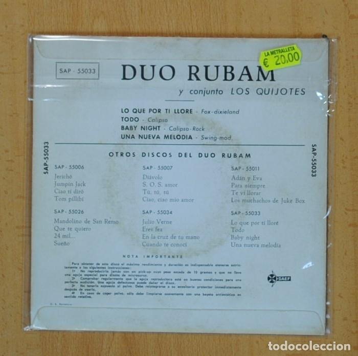Discos de vinilo: DUO RUBAM Y CONJUNTO LOS QUIJOTES - LO QUE POR TI LLORE + 3 - EP - Foto 2 - 122096636