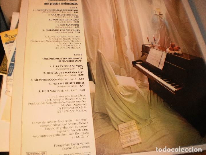 Discos de vinilo: lp alejandro jaén. mis propios sentimientos. novola 1978 spain carpeta doble. probado y bien - Foto 2 - 122115803