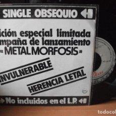 Discos de vinilo: BARON ROJO INVULNERABLE SINGLE SPAIN 1983 PDELUXE. Lote 122143231