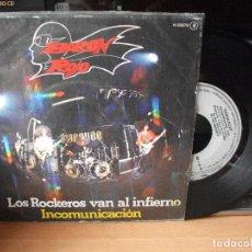 Discos de vinilo: BARON ROJO LOS ROCKEROS VAN AL INFIERNO SINGLE SPAIN 1987 PDELUXE. Lote 122143387