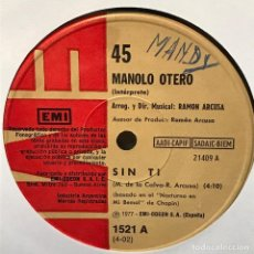 Discos de vinilo: SENCILLO ARGENTINO DE MANOLO OTERO AÑO 1977. Lote 122149255