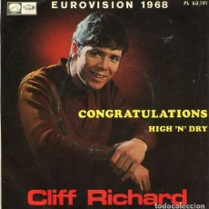 Discos de vinilo: CLIFF RICHARD / CONGRATULATIONS (EUROVISION 1968) / HIGH 'N' DRY (SINGLE 1968). Lote 122165479