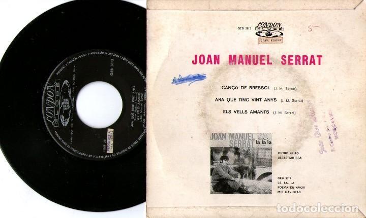 Discos de vinilo: JOAN MANUEL SERRAT - EP SINGLE VINILO 7'' - Editado en PORTUGAL - CANÇÓ DE BRESSOL + 2 - Foto 2 - 122198451