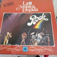 Discos de vinilo: CAJA 4 LP MAS LIBRO LA MUSICA ELEGIDA EL ROCK CBS. Lote 122255947