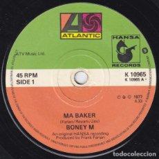 Discos de vinilo: BONEY M – MA BAKER (ED.: UK, 1977) [VINYL, 7 PULGADAS, 45 RPM, PAPER LABELS]. Lote 122316083