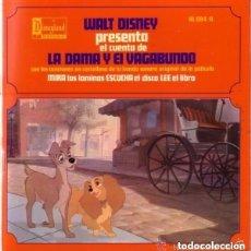 Discos de vinilo: DISCO CUENTO INFANTIL WALT DISNEY PRESENTA, LA DAMA Y EL VAGABUNDO - EP DISNEYLAND. Lote 122354851