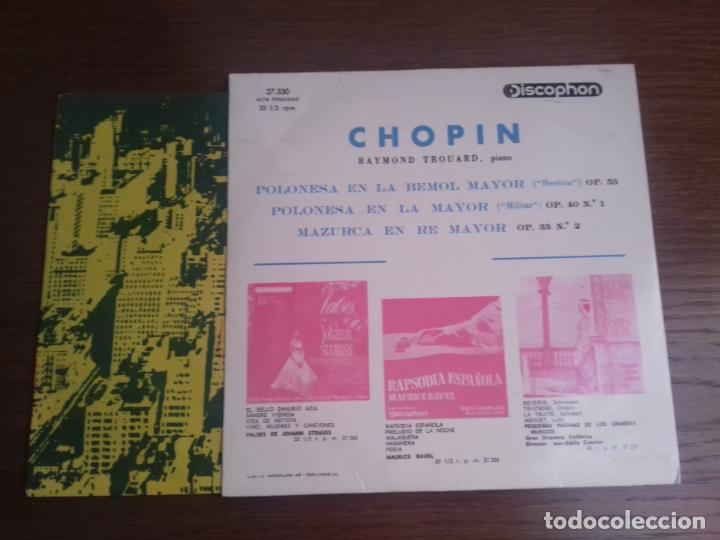Discos de vinilo: SINGLE - RAYMOND TROUARD - F. CHOPIN POLONESAS - AÑO 1964 - EDITION SPANISH - Foto 2 - 122437551
