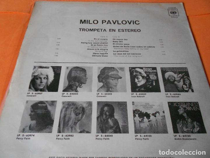 Discos de vinilo: MILO PAVLOVIC. TROMPETA EN ESTEREO.CBS.1970. RARO. - Foto 2 - 122448707