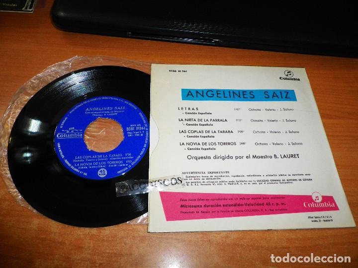 Discos de vinilo: ANGELINES SAIZ Letras / Las coplas de la tarara EP VINILO DEL AÑO 1966 COLUMBIA CONTIENE 4 TEMAS - Foto 2 - 122584227