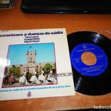 Discos de vinilo: CANCIONES Y DANZAS DE CADIZ LAS MUJERES DE LA SIERRA SECCION FEMENINA FALANGE ESPAÑOLA EP VINILO. Lote 122585903