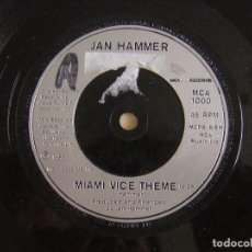 Discos de vinilo: JAN HAMMER - MIAMI VICE THEME - SINGLE UK 1985 - MCA. Lote 122690867