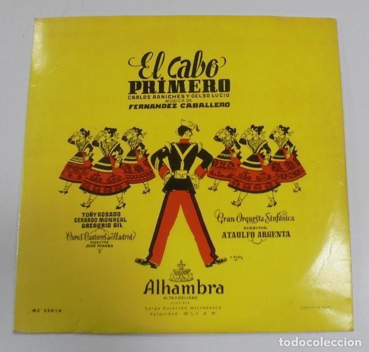 EL CABO PRIMERO. CARLOS ARNICHES Y CELSO LUCIO. ALHAMBRA. (Música - Discos de Vinilo - EPs - Clásica, Ópera, Zarzuela y Marchas)