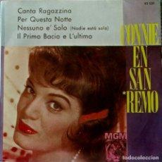 Discos de vinilo: CONNIE FRANCIS EN SAN REMO - CANTA RAGAZZINA + 3 - ED. ESPAÑOLA - MGM 63.539 - MUY RARO - EXCELENTE. Lote 122790027